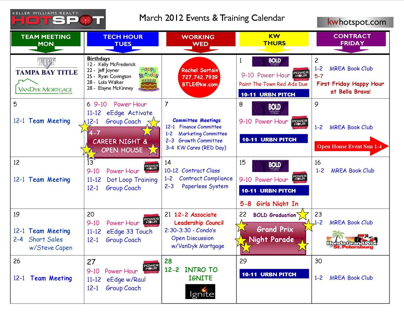 calendar of events template word - march events training calendar keller williams realty