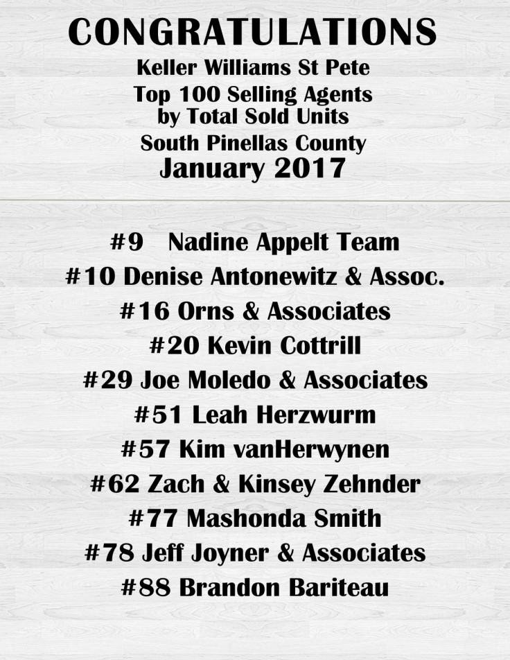Top Selling by units jan 2017